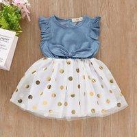 Girl's Dresses Toddler Baby Girl Dress Sleeveless Dot Print Born For Girls Clothes Denim Bow Princess Tulle