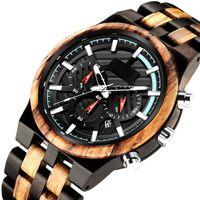 Relojes de pulsera Relojes de pulsera de madera únicos para hombres Fecha de cronógrafo Wood Watch Cuarzo Multifunción Dial de bambú Reloj de bambú Pulsera masculina Reloj de Made