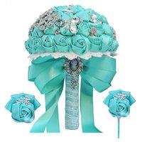 Promotional Bridal Bouquet Luxury Rhinestone Ribbon Rose Sister Group Wrist Corsage 3-piece Wedding Costume Props T571 Decorative Flowers &