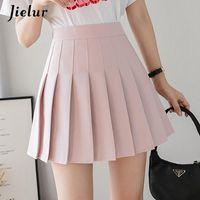 Летняя плиссированная юбка шикарный A-Line High талия Kawaii женский опрятный стиль 4 цвета розовые белые короткие юбки Harajuku