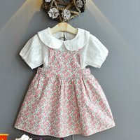 Summer Girl Fashion Short-sleeved Shirt + Casual Floral Suspender Skirt Baby Pastoral Style Two-lapel Blouse Cute Dress 2-piece Set Kids Outfits