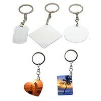 7 Style Double Sided Transfer Keychains Pendente Sublimazione Blank Metal Keychain Decorazione dei bagagli Tasto GWB7844