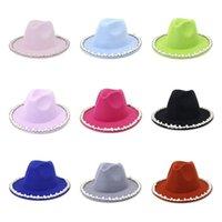 Pearl Fedora Sombrero para mujer Amplia tapa gorra mujer Jazz Panamá gorras Damas Formales sombreros chicas moda trilby chapeau primavera otoño invierno regalo 26colors