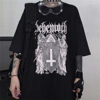 QWEEK Goth Harajuku Tshirt Emo Tarzı Alışveriş Merkezi Goth Tops Yaz Punk Kaya Gotik Grafik T Shirt Streetwear Siyah Giysileri Tops 210320
