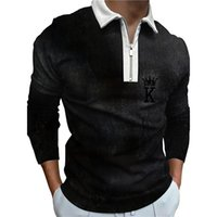Portrait printing men zipper long sleeve polo shirt, high quality, comfortable, breathable, fashionable and cool, daily business trip, work party