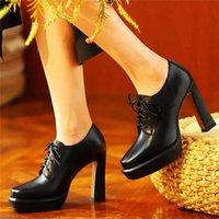 أحذية اللباس أحذية الكاحل الشرير المرأة البقرة جلد البقر منصة عالية الكعب حزب مضخات كتلة الزفاف ملهى 34 35 36 37 38 39