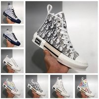 2021 패션 B23 디자이너 운동화 비스듬한 캐주얼 신발 기술 가죽 높이 및 낮은 꽃 플랫폼 야외 운동화 캔버스 빈티지 레이스 업 트레이너