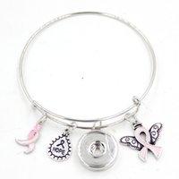 Nouvelle Arrivée Snap Bijoux Hope Ruban Cancer du sein Cancer du cancer Rose Aile d'ange Charme Extensible Réglable Fil Bracelet