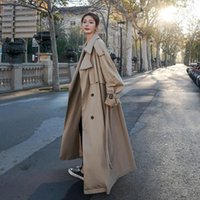Korean Loose Oversized Long Women's Trench Coat Double-Breasted Belted Lady Cloak Windbreaker Female Fashion Outerwear Grey Coats