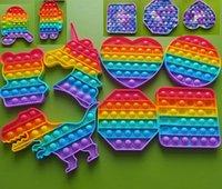 Festa dos EUA Festa Favor Arco-íris Colorido Descompression Brinquedos Empurre Bubble Sensory Toy Autismo Ansiedade Relisor de Stress para Estudantes Trabalhadores de Escritórios