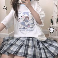 Women's T-Shirt Women Kawaii Anime For 2021 Japanese Streetwear Short Sleeve With Prints Summer Top White Clothing