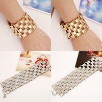 New Fashion luxury designer metal geometric bricks link chain bracelet for woman girls gold silver color 1230 B3