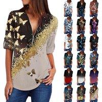 Women's T-Shirt Zipper V-neck T-shirts Plus Size Work Tops Women Vintage Floral Print Shirts Cotton Fit Dot Mujer Blusas Clothing