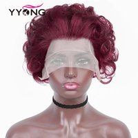 Lace Wigs Short Pixie Cut Wig Fumi Curly Human Hair Red Transparent Front For Women Loose