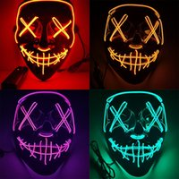Halloween Masque d'horreur LED Masques rougeoyantes Masques de purge Mascara Costume Mascara Costume DJ Partie Light Up Masques Glows dans Dark 10 Couleurs 1057 B3