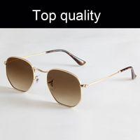 En Kaliteli Altıgen Metal 3548 Güneş Erkekler Kadınlar Gerçek Cam Lensler Güneş Gözlükleri Deri Kılıf Ile Erkek Kadın