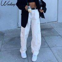 Jeans da donna Maschio di moda Pocket Tasca Bianco Streetwear Vita alta Vintage Dritto HARAJUKU 2021 Pantaloni Denim Cargo