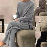 Women's Two Piece Pants 2021 Fashion Winter Thicken Warm Knitted Pullover Sweater Two-Piece Suits High Waist Loose Wide Leg Set