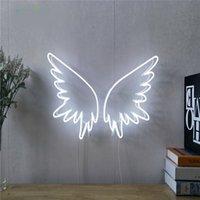 맞춤형 로고 이름 12V DC 천사 날개 LED 조명 벽 파티 웨딩 샵 창 레스토랑 생일 장식