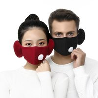 in 2 1 Valve Face Mask with Plush Earmuffs Winter Warm Mouth s Mouth-muffle Earflap Outdoor Cycling 2pcs Filters Fy9122