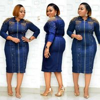 Ethnic Clothing African Plus Size Dresses For Women 2021 Spring Summer Blue Denim Casual Dress Lady Dashiki Zipper Washed Africa