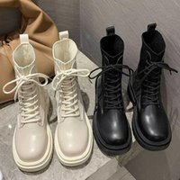Boots Ankle For Women 2021 Motorcycle Chunky Heel Platform Demonia Shoes Woman Slip On Round Toe Fashion Y2k Boot