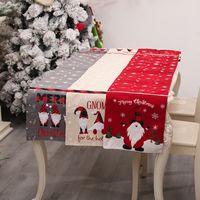 Tabela de Natal Corredor Toalha de Algodão de Algodão Tabela de Linho Santa Claus Bandeira Tabela Vestido Toalha de Tabela Comer Mat Decorações de Natal W-00841
