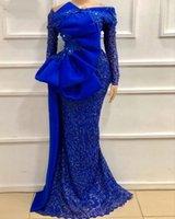 Off Shoulder Long Sleeve Prom Dresses 2021 Shiny Luxury Lace Applique Bow Evening Dress Dubai Caftan Boda robe de soirée de mariage
