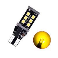 100pcs / lot الأصفر T15 W16W 15SMD 2835 LED Canbus خطأ أضواء الفرامل سيارة مجانية ل Reverselights المصابيح الخلفية 12 فولت