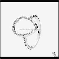 Женская слезы, полый силуэт Кольцо CZ Diamond Ювелирные Изделия для Pandora 925 Стерлинговые серебряные серебряные кольца с оригинальной коробкой набор 68SYG 8HPQL