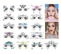 20 adet / grup Rhinestone Festivali Yüz Jewels Sticker Sahte Dövme Çıkartma Vücut Glitter Dövmeler Gems Flaş