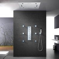 Наборы для душа для ванной комнаты 500 мм 20 дюймов Светодиодная головка Music Bluetooth Systems Big Water Flow Mixer Set Polished Chrome