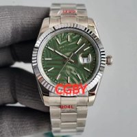 Ladies fully automatic mechanical watches 36mm imported movement fine steel super luminescent convex lens zoom calendar palm leaf pattern disc designer
