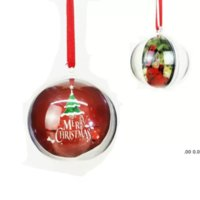 NOUVEAU 5 cm Boule de Noël en plastique transparent suspendu Pendentif Ornement Boules creuses et sublimation Vierge MDF Ornament Noël FWe10531