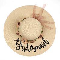 Flowers brand new beach Sun wedding floppy Hats Honeymoon bride smaid maid of honor bridal shower party summer straw hat