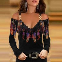 Women's Blouses & Shirts Women Off Shoulder Chain Strap Blouse 2021 Autumn Hollow Out Long Sleeve Retro V Neck Pattern Printed Tops Pullover