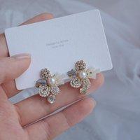 Branchetti di cristallo di stile barocco di modo coreano di modo di progettazione di progettazione anteriore e posteriore anteriore e posteriore fiore elegante orecchini femminili orecchini