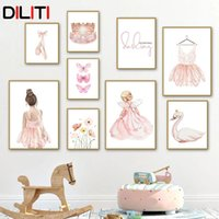 Paintings Ballet Girl Butterfly Flamingo Flower Swan Crown Wall Art Canvas Painting Nordic Posters And Prints Picture Kids Room Decor