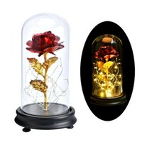Gold Plating Rose Flower In A Glass Dome With LED Light String Gift Women Girls On Birthday Valentine\'s Day Greeting Cards