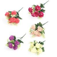 Decorative Flowers & Wreaths Artificial Luxurious Bouquet For Home Table Decor Sky Blue Fake Hydrangea Wedding Decoration