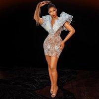 Women's Short Prom Dress V Neck Appliques Lace Mini Skirt Middle East Celebrity Evening Dress 2022 Vestidos De Noche