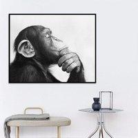 Siyah ve Beyaz Hayvan Tuval Yağlıboya Soyut Sanat Maymun Poster Baskılar Duvar Resimleri Oturma Odası için Modern Ev Dekorasyon
