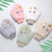 Five Fingers Gloves 2021 Soft Warm Women Winter Windbreak Riding Student Cute Flower Ornament Full Mittens Girls