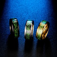 Cluster Rings Wholesale Delicate Silver Light Mens Stainless Steel Green Nibelungen Ring Love Friend Gifts For Male Accesories