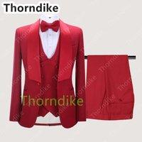 Thorndike Est красный узор мальчик мужские костюмы Slim Fit Wedding Groom Tuxedo Shawl Щел Отореждение формальный Blazer PM-костюм (Куртка + брюки + жилет) Мужской Blazer
