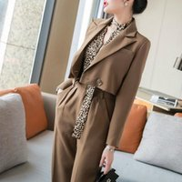 Piece Set 2021 Short Brown Blazer Jacket Pants Suit Women Hi...