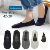 Plus Size High Quality Fashion Men's Invisible Socks Sile 360 Non-slip No Show Seamless Boat Ankle Sock 42-48