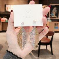 S925 إبرة الفضة النسخة الكورية لامعة الماس الذهب الخرزة متناظرة المعينية الشرابة اللباس شخصية ثنائي الغرض أقراط FN8Q