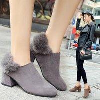 2021 Yeni kadın Yüksek Topuklu Tek Çizmeler Kürk Kaba Süet Orta Topuklu Ayak Kauçuk Sole Kadın Ayak Boots1