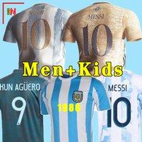 Arjantin Futbol Forması Hayranları ve Oyuncu Sürümü 2021 COPA Amerika Messi Dybala Aguero Futbol Gömlek Erkekler + Çocuk Kiti Setleri Üniformalar 2021
